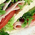 Sandwich jambon crudité