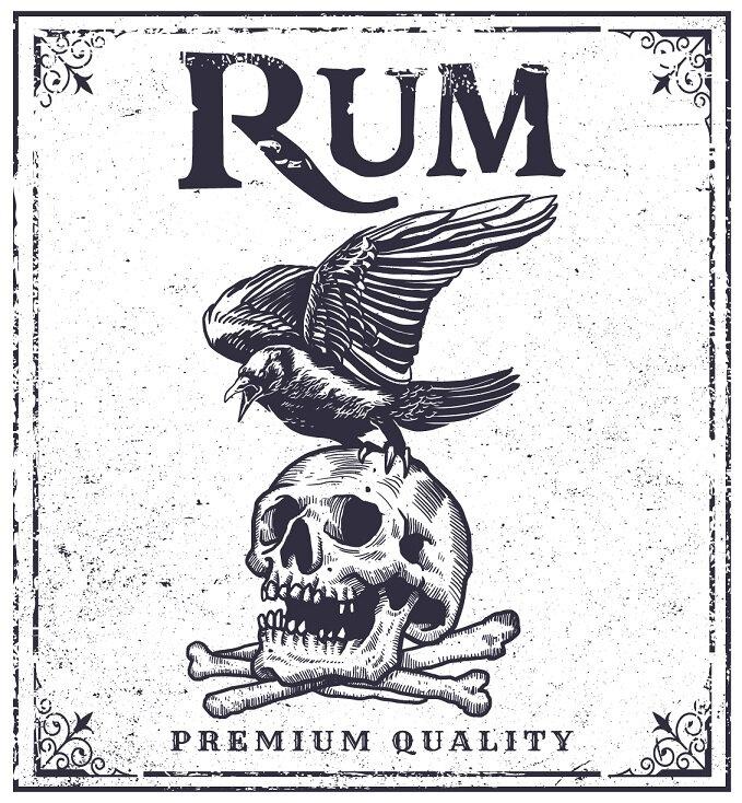 label pirate skull rum printable
