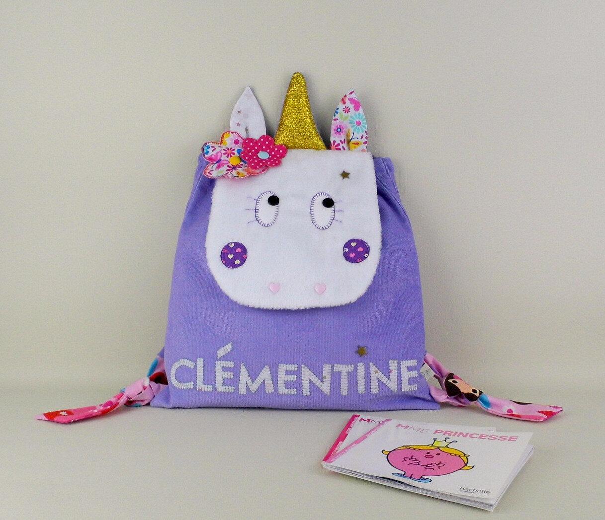 Sac à dos licorne personnalisé prénom Clémentine cartable maternelle fille mauve rose violet