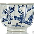 A blue and white porcelain cachepot, China, Kangxi period