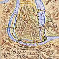 Voyage au temps du siège de poitiers par l'amiral gaspard de coligny en 1569, d'après une gravure italienne et déroulé.