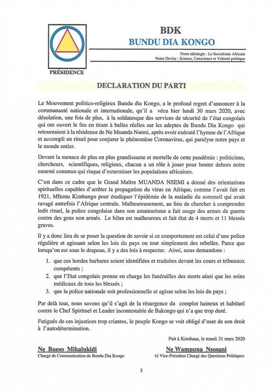 DECLARATION DU PARTI BUNDU DIA KONGO LE 31 MARS 2020