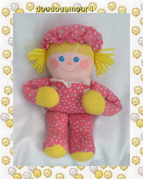 Peluche Doudou Poupée Vintage Rose Jaune Ronds Scratch Fisher-Price