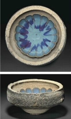 A large saggar containing a Junyao petal-lobed bowl, Yuan dynasty (1279-1368)