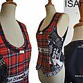 Gilet sans manches Tartan écossais tailleur femme noir rouge carreaux mod 05C