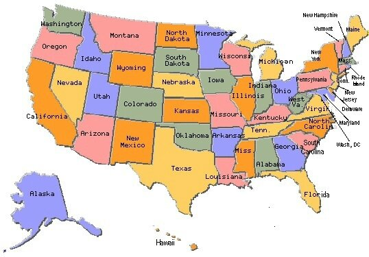 Amerique-du-Nord-carte-des-Etats-Unis-New-York-Texas-Californie-Arizona-Washington