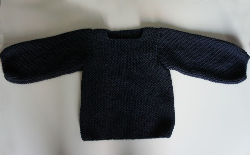 pull bleu point de riz 1