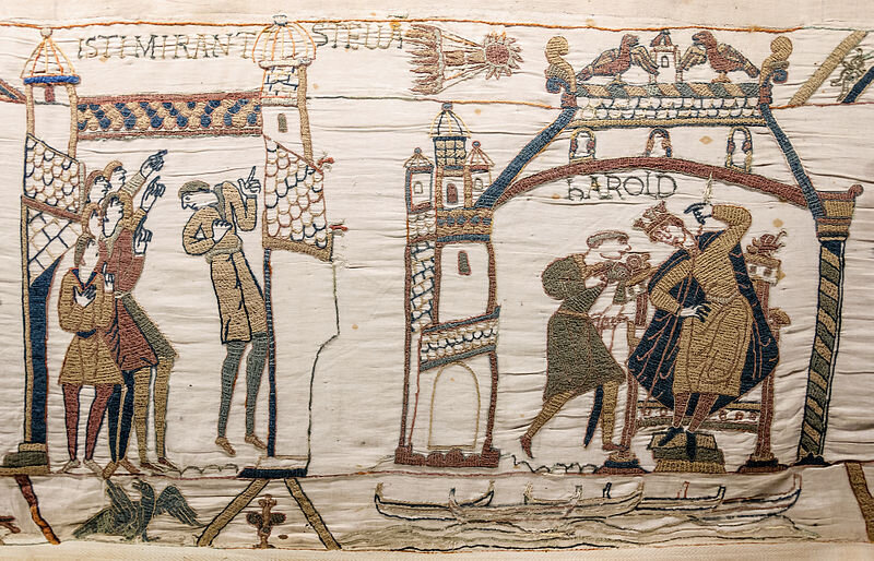 800px-Bayeux_Tapestry_32-33_comet_Halley_Harold