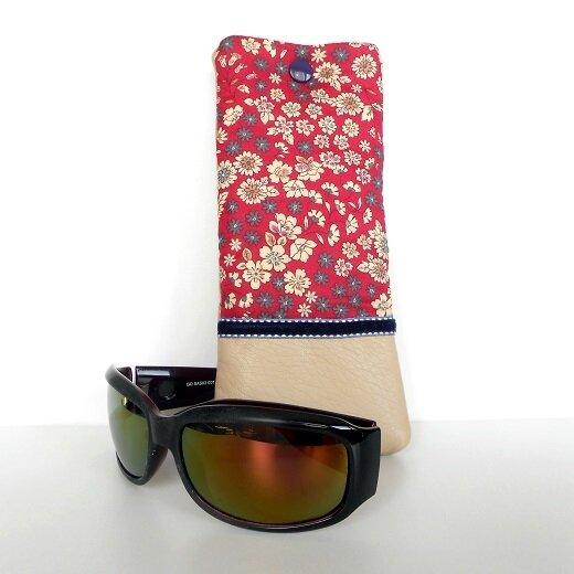Etui lunettes frou frou fleurs fushia1