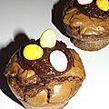 Mini-brownies au chocolat coeur praliné de pâques