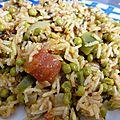 Riz au poivron vert et petits pois