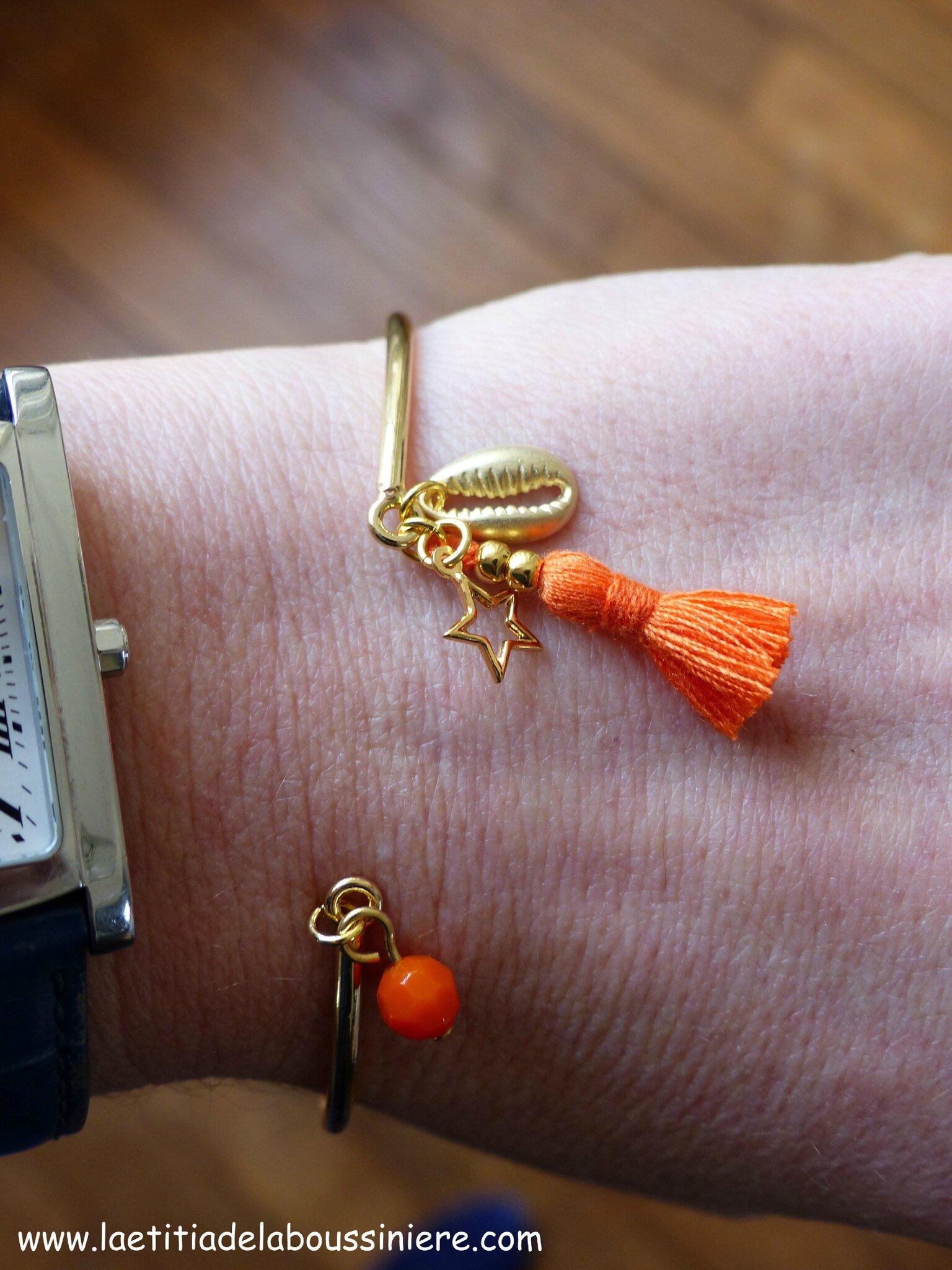 Bracelet Agatha (orange et doré)