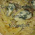 Courge spaghetti jambon roquefort