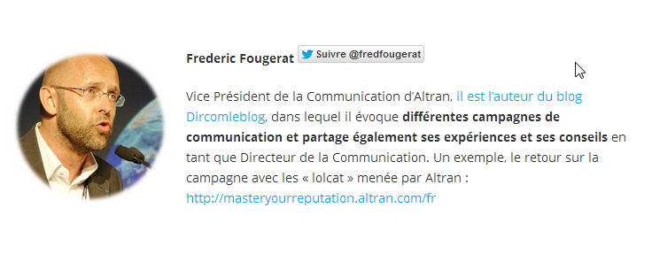 FREDERIC FOUGERAT AU TOP 10 DES INFLUENCEURS DE LA COMMUNICATION