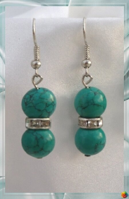 Boucles d'Oreilles Crina Perles Turquoise Vert Rondelle Strass Crystal Argent Du Tibet