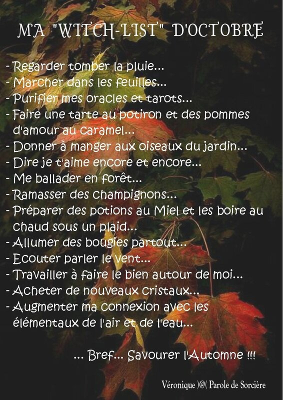Ma Witch List d'Automne