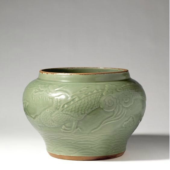 An attractive 'Longquan' celadon jar, Yuan dynasty
