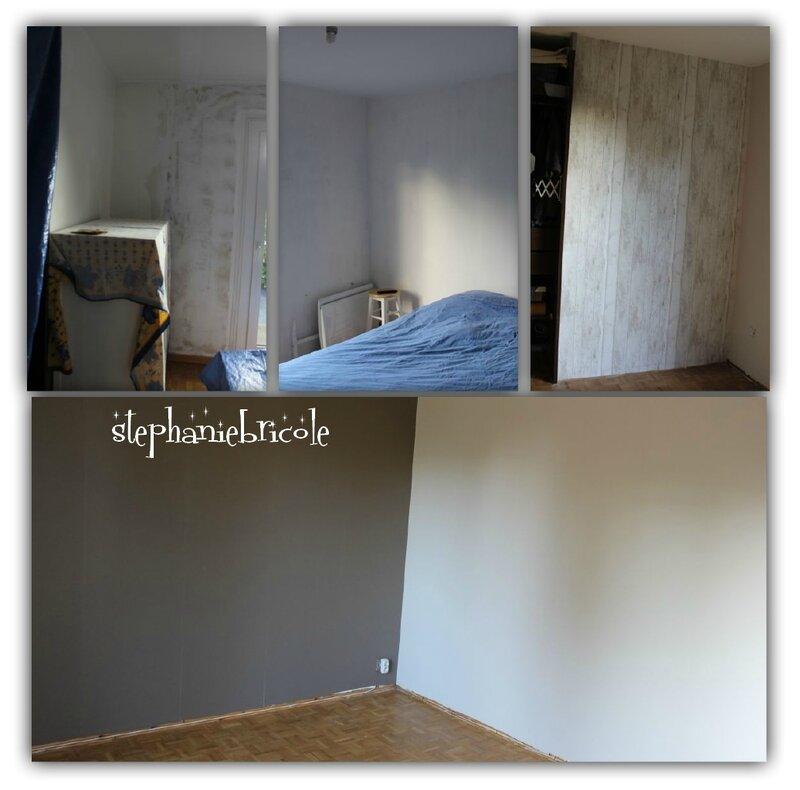 etape préparation mur et collage du papier peint