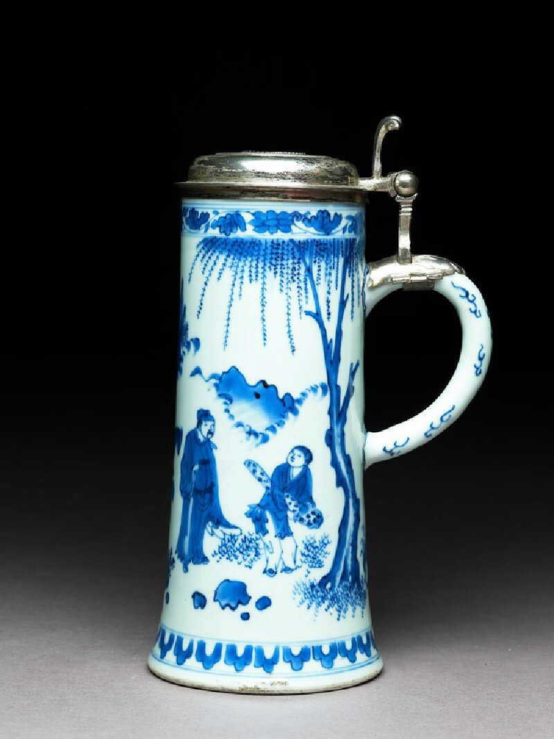 Blue-and-white tankard with Swedish silver mounts, Ming Dynasty, Chongzhen Period (1628 - 1644)