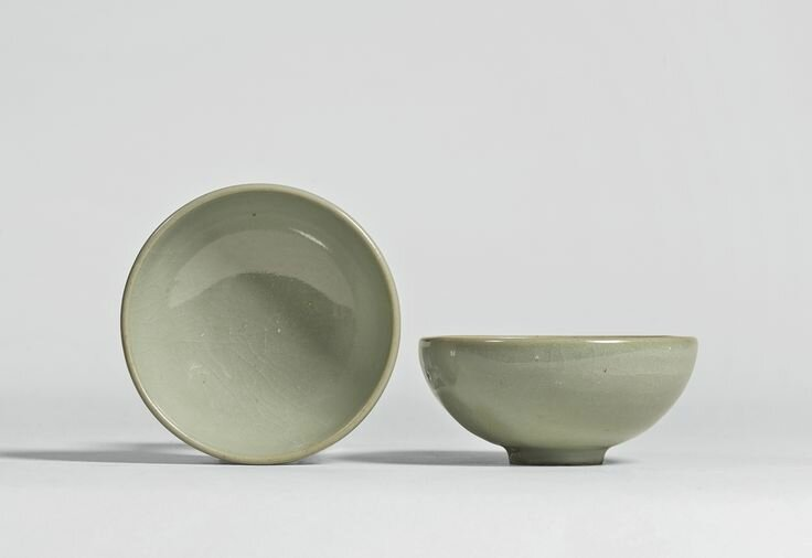A pair of green 'Jun' bubble bowls, Song dynasty
