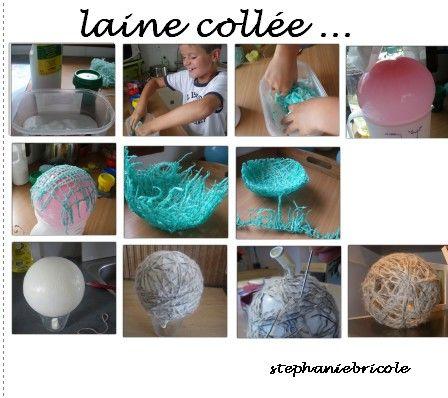 Bouts de laine et ballon de baudruche  tuto d'une boule de noël