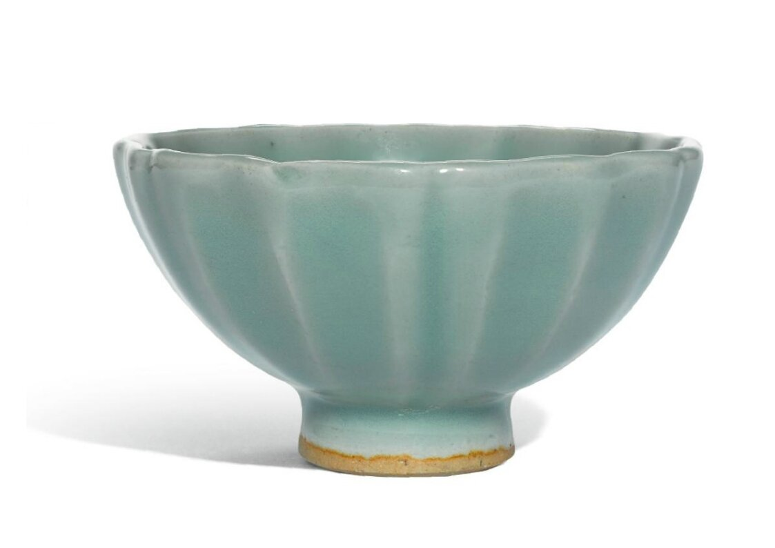 A small 'Longquan' celadon petal-lobed bowl, Song dynasty
