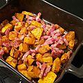 Courge butternut et lardons rôtis au four