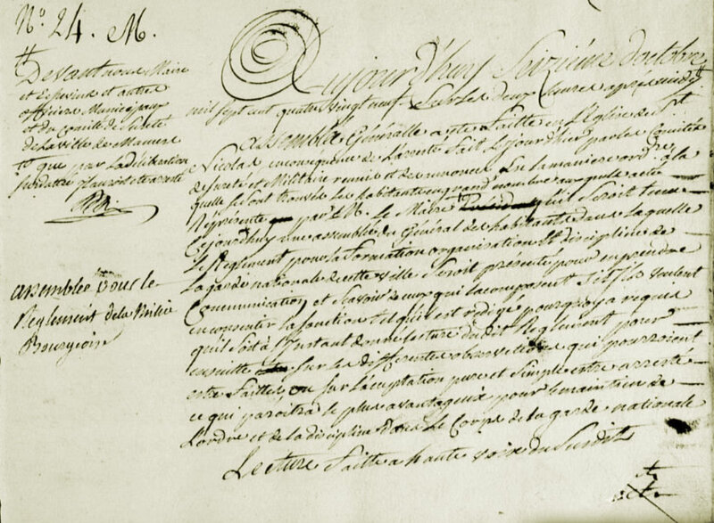 Le 16 octobre 1789 à Mamers : forte contestation du règlement de la garde nationale.