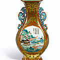 A fine café-au-lait ground famille-rose wall vase, seal mark and period of qianlong (1736-1795)