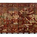 A twelve-panel brown-ground coromandel lacquer screen. qing dynasty, kangxi period