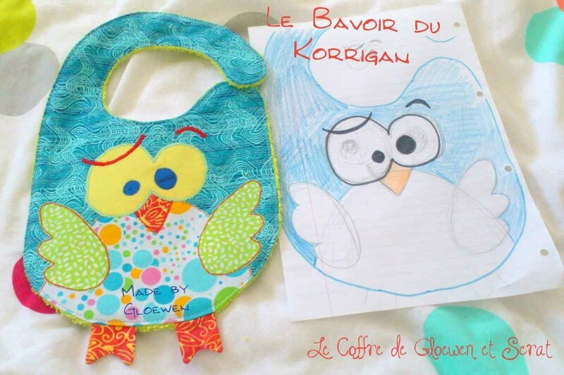 Bavoir Korrigan version Hibou by Gloewen (5)