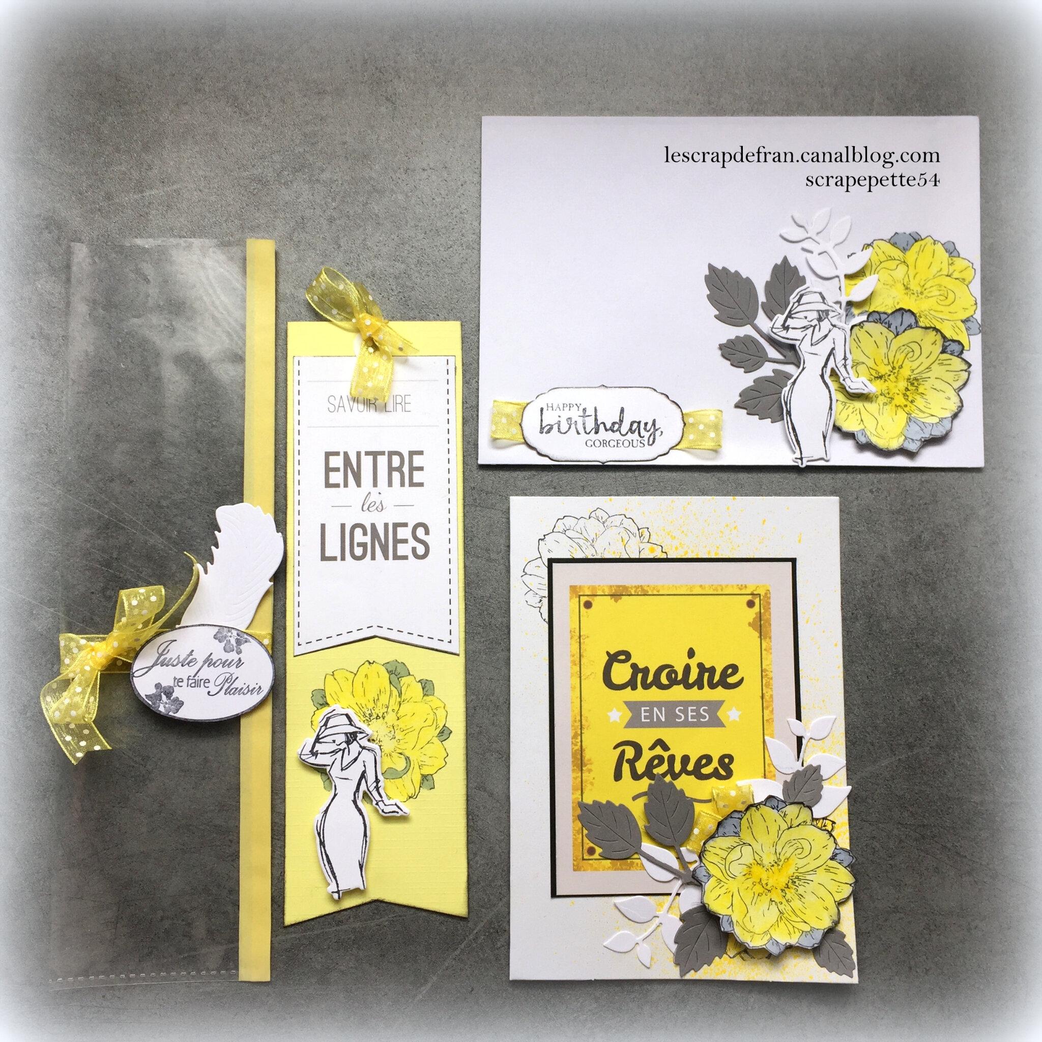 un ensemble carte et marque page tout de jaune et fleur vêtu