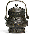 An archaistic silver and gold-inlaid bronze wine vessel and cover, you, ming dynasty (1368-1644)