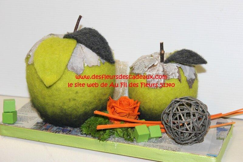 composition pomme et rose éternelle (3)
