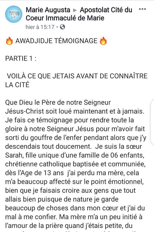 🔥 TÉMOIGNAGE DE LA SOEUR MARIE AUGUSTA SUR L'APOSTOLAT CITE DU COEUR IMMACULE DE MARIE 🔥