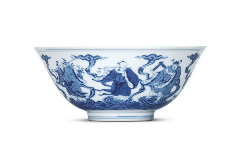 A fine blue and white 'Eight Immortals' bowl, Daoguang six-character seal mark in underglaze blue and of the period (1821-1850)