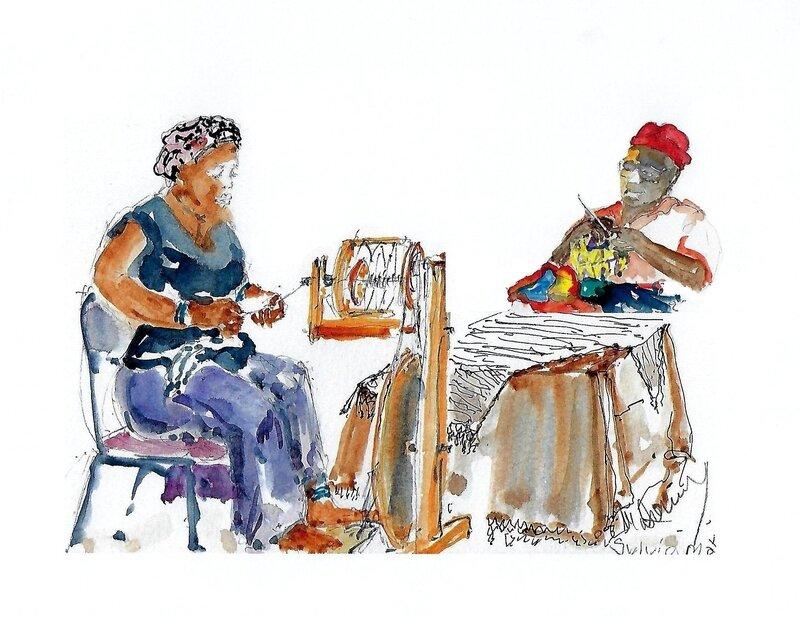 Femmes au travail tissage