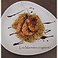 Crevettes sautées et nouilles chinoises