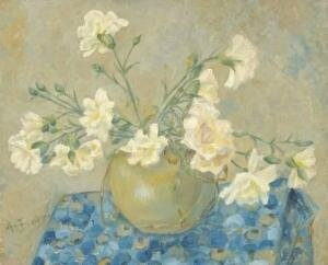 Anne Boch bouquet_d_oeillets_blancs~1910