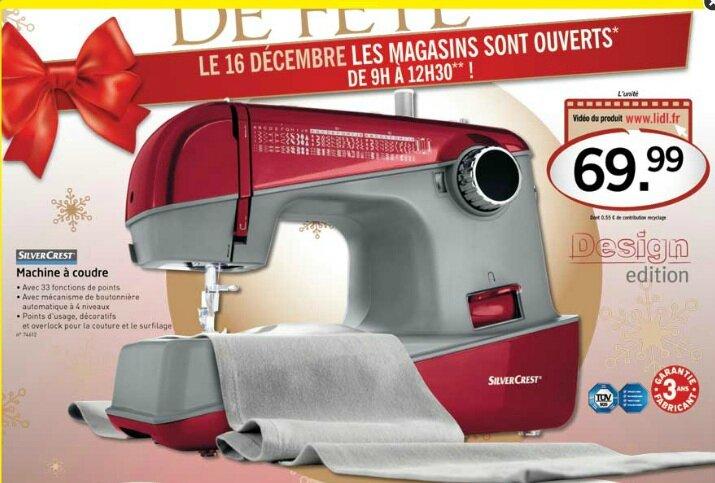 Machine à Coudre Silvercrest 74612 Chez Lidl En Vente Le 16 Décembre 2012 Cathypety