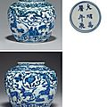 A blue and white ovoid jar, wanli six-character mark within double-circles and of the period (1573-1619)