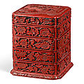 A rare carved cinnabar lacquer four-tiered box and cover, ming dynasty, 16th-17th century