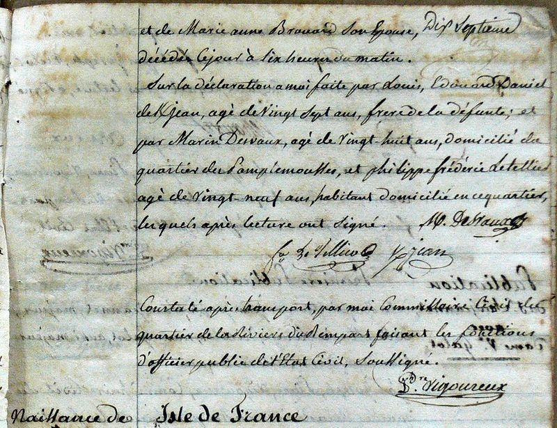 DANIEL DE KERJEAN Anne_Décès 1807-Rivière du Rempart-Maurice