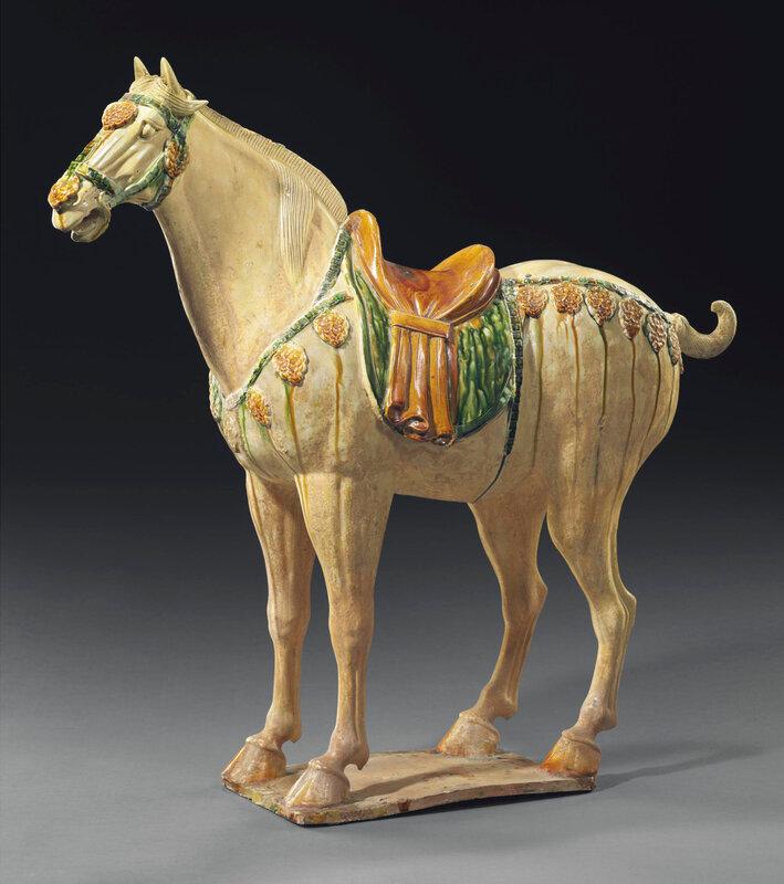 A magnificentsancai-glazed pottery figure of a Ferghana horse, Tang dynasty (618-907)