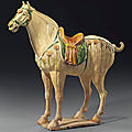A magnificent sancai-glazed pottery figure of a Ferghana horse, Tang dynasty (618-907)