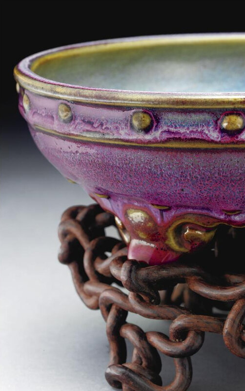A superb 'jun' purple-splashed narcissus bowl, Early Ming dynasty (3)