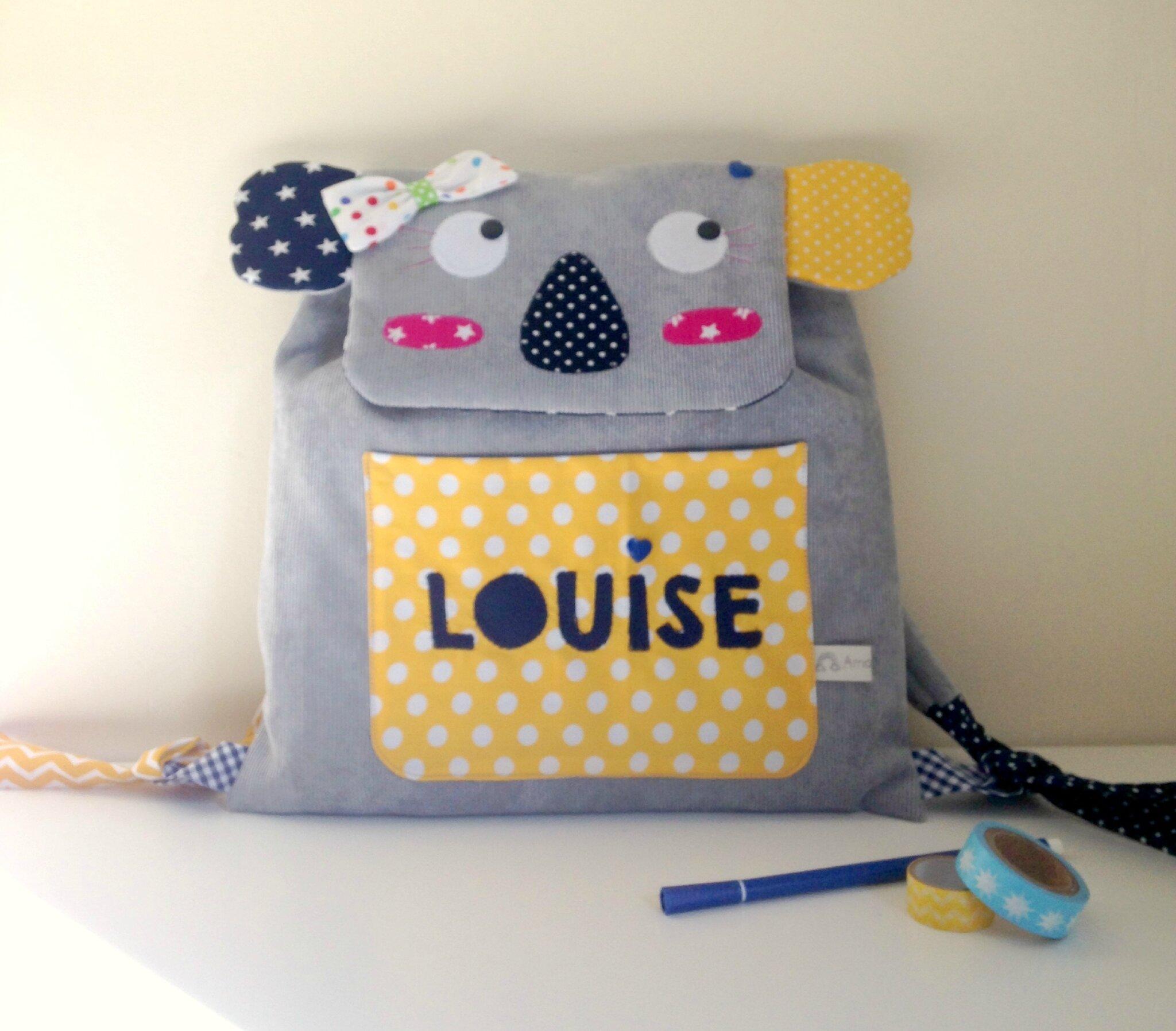 Sac à dos enfant koala personnalisé avec le prénom Louise