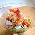 Salade de gambas aux poivrons et aux abricots