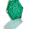 'the taj mahal emerald'. carved emerald and diamond brooch, cartier