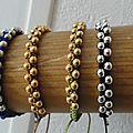 Macramé et perles dorées